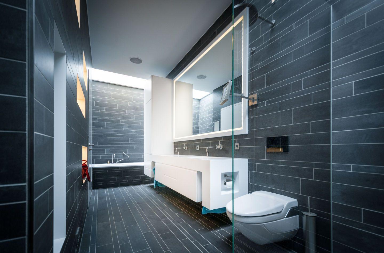 badezimmer aus dunkelgrauem stein